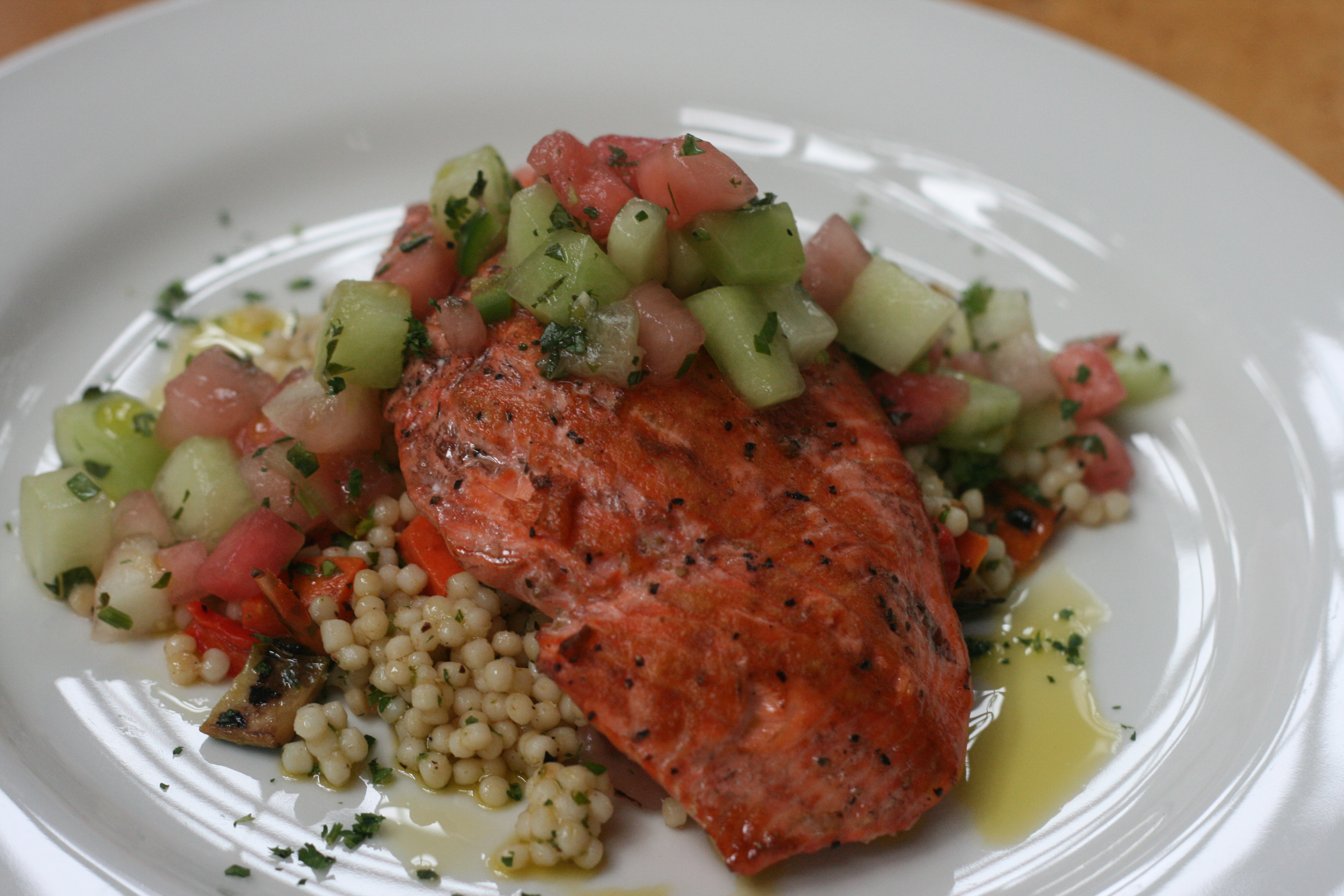 amazing wild alaskan salmon grilled and served with grilled vegetable ...